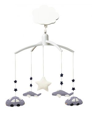 TROUSSELIER - MUSICAL MOBILE Car and planes - White and Navy stripes