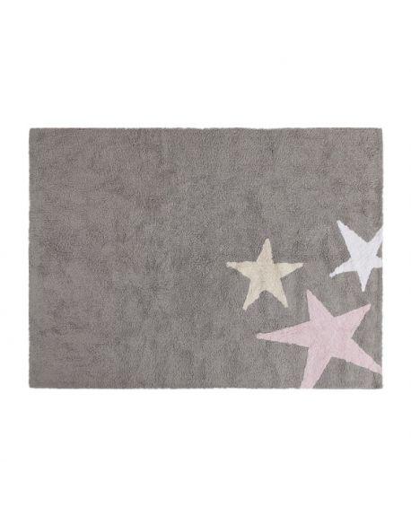 LORENA CANALS - COTTON RUG 3 STARS Pink 120 x 160 cm