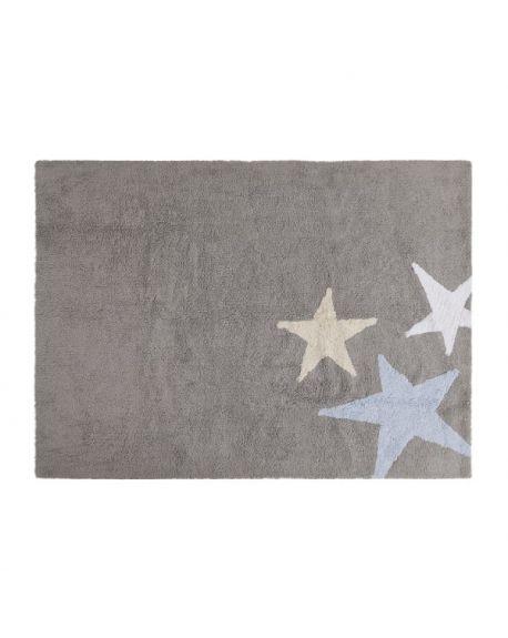 LORENA CANALS-TAPIS COTON 3 ETOILES Bleu 120 x 160 cm