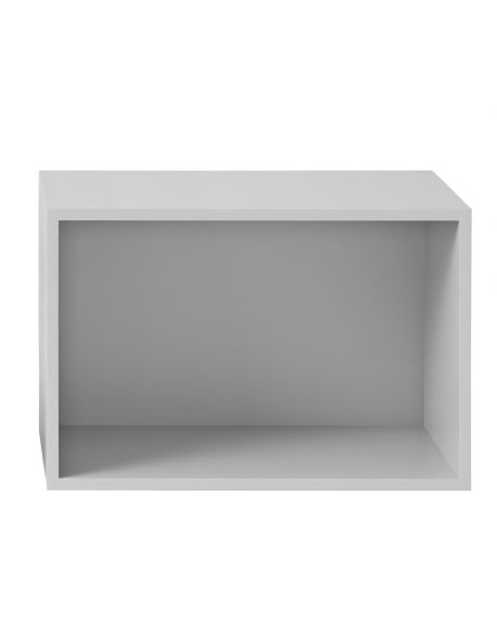 MUUTO STACKED -Shelving Unit-L-with backboard-Light Grey