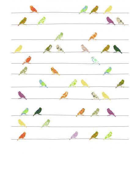 INKE-PAPIER PEINT XL 200 x 300 cm/Oiseaux sur un fil