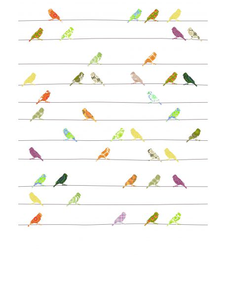 INKE - XL WALL PAPER 200 x 300 cm/Birds on wire