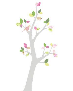INKE-ARBRE3 AVRIL Feuilles rose/vert/tronc au choix