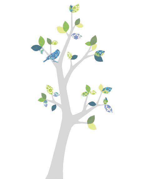 INKE-ARBRE3 JUIN Feuilles bleu foncé et vert/tronc au choix