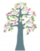 INKE-ARBRE2 AVRIL-Décoration murale Feuilles roses