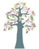 INKE - TREE 2 APRIL-Tree in vintage wallpaper/Pink leaves