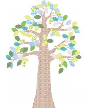 INKE-ARBRE2 AOUT - Décoration murale/feuilles bleu clair
