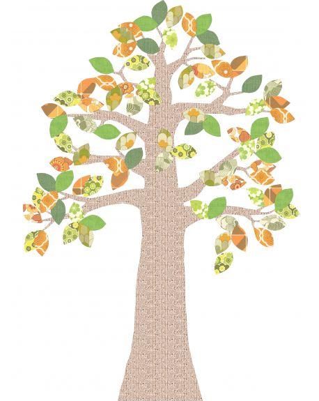 INKE - TREE 2 OCTOBER - Tree in vintage wallpaper/Orange leaves