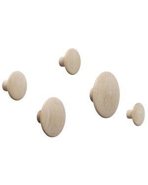 MUUTO -THE DOTS - Set of 5 oak wall hooks