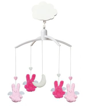 TROUSSELIER-MOBILE MUSICAL ANGE-LAPINS-Fushia & Rose