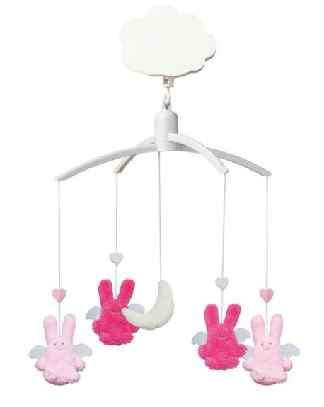 TROUSSELIER - MUSICAL MOBILE FOR COT OR PLAYPEN - Fuchsia & Pink Angels rabbits