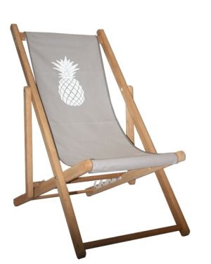 TOILES CHICS - Deck chair - grey with pineapple