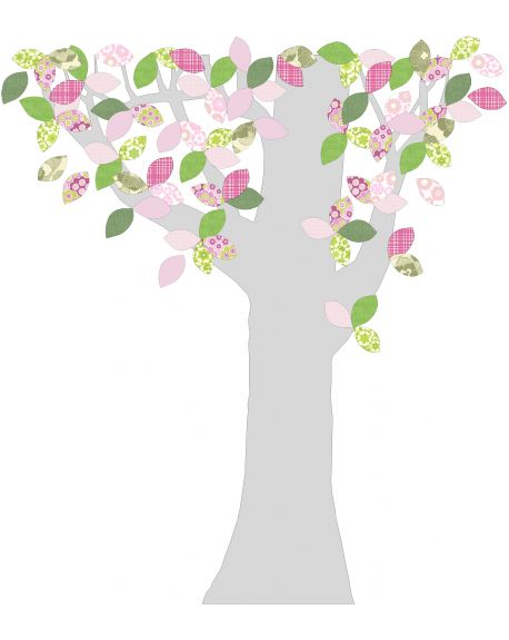 INKE-ARBRE1 AVRIL-Décoration murale Feuilles roses